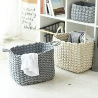 New Cotton Thread Square Sundries Storage Basket Handmade Knitting Dirty Clothes Laundry Basket Folding Toys Snacks Storage Bins