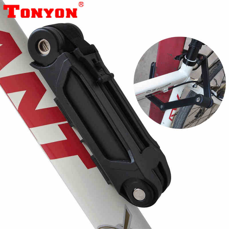 TONYON Anti-theft Bicycle Lock Professional Foldable Bike Lock MTB Road Cycle Chain Lock 45*850mm Bicycle Locks abus newest top quality bordo lite 6050 85 professional cycling bike anti theft foldable lock bicycle cycle biking fold lock