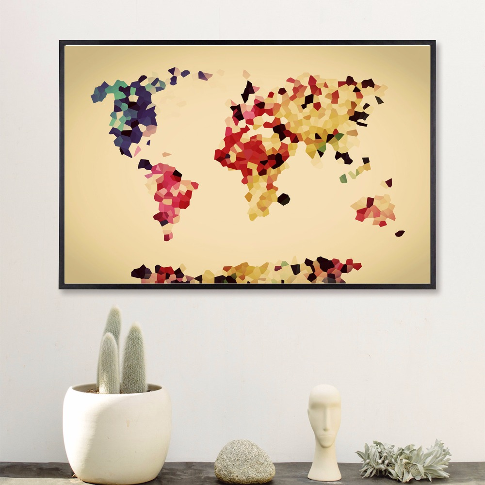 Watercolour World Map Modern Poster Art Wall Pictures Silk Fabric ...
