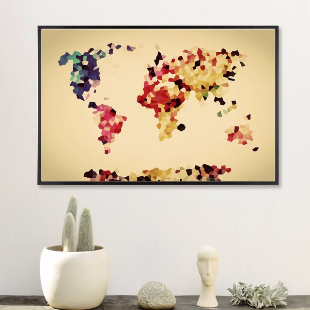 Online Shop Watercolour World Map Modern Poster Art Wall Pictures ...