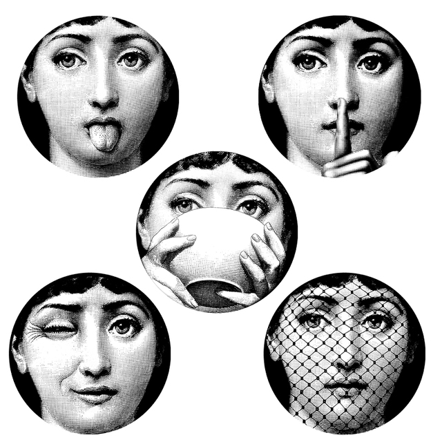 Buy 5 pieces milan italy designer fornasetti plates pattern wallpaper separated - Fornasetti faces wallpaper ...