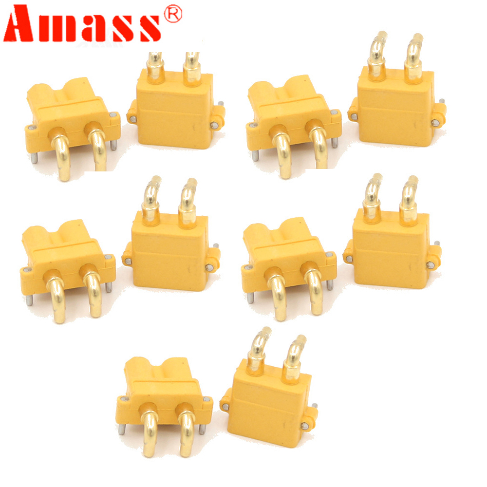 10 X Amass XT30PW ESC Motor PCB Board Plug Banana Golden XT30 Upgrade Right Angle Plug Connector For RC Mode (5 Pair )