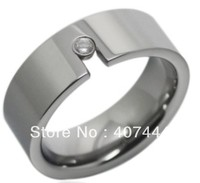 Free Shipping USA Hot Selling Unique High Polish Inlay A CZ Tungsten Wedding Band Ring 8mm