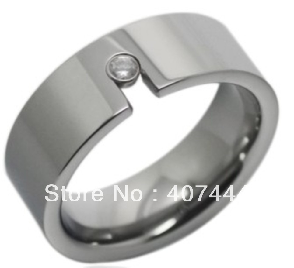 Free Shipping Usa Hot Selling Unique High Polish &inlay A Cz Tungsten Wedding  Band Ring 8mm Us Sizes (710) Cobalt Free