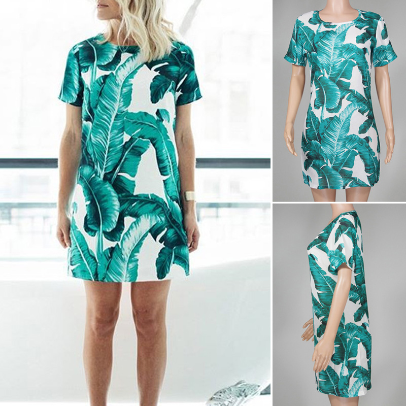 Women Ladies Leaves Round Neck Short Sleeve Chiffon Shift Short Mini Dress