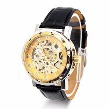 Classic Mens Mechanical Watch Black Leather Gold Dial Skeleton Army Sport Wristwatch Cool Relogio
