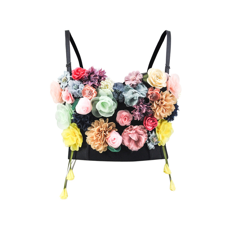 Corzzet Black Floral Sexy 3/4 Cup Women's Bustiers Tops Push Up Dance Wear Club Brassieres Bralette Corsets Costumes Clothes