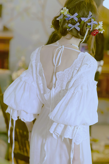 LYNETTE'S CHINOISERIE Spring Autumn Original Design Women Lolita Vintage Exquisite Embroidery Lace V-neck Cotton Maxi Dresses
