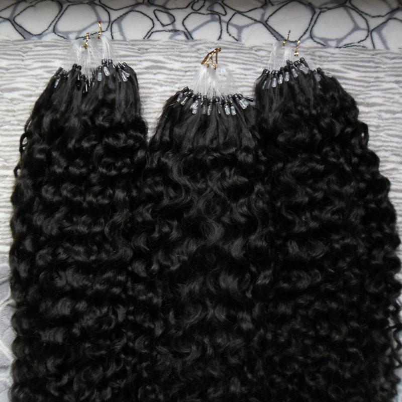 Brazilian Kinky Curly Hair Micro Link Hair Extensions Human 3