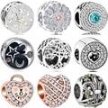 Btuamb высококачественные бусины-шармы с кристаллами в форме сердца, луна, клубника, парусник, бусины для браслетов Pandora для женщин, ювелирные и...