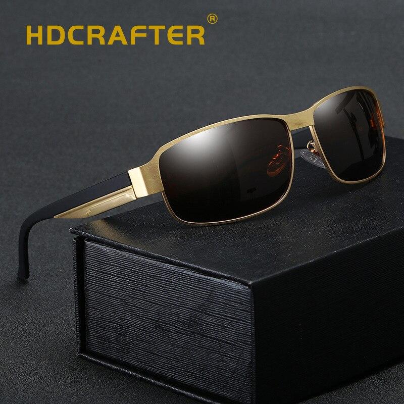HDCRAFTER clásico de los hombres de la marca gafas de sol polarizadas de aleación de lente gafas Vintage accesorios gafas de sol para hombres UV400