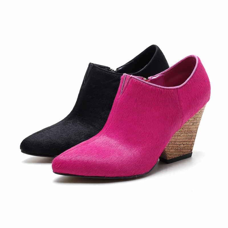 Zip Noir rose Mode Bal Talons 34 Pointu Élégant Chaussures Smirnova Red 40 Hauts De Mariage Crin Taille D'automne Grande Bout Printemps Femme dCxsrQth