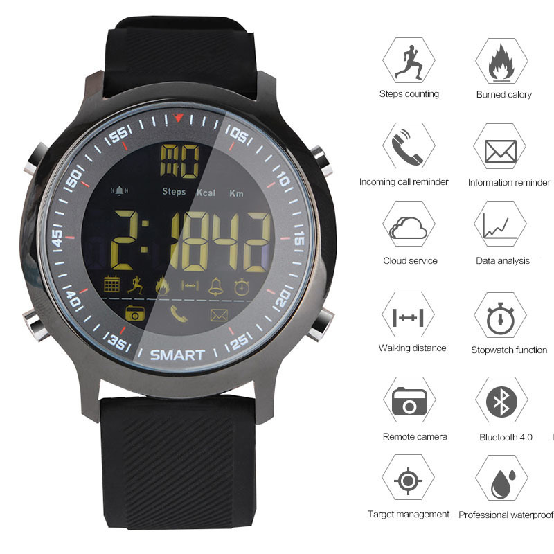 GIMTO Digital Smart Watch Men Sport Militär Bluetooth Pedometer Watch Mens Stopwatch Vattentät Silikon Band LED Armbandsur