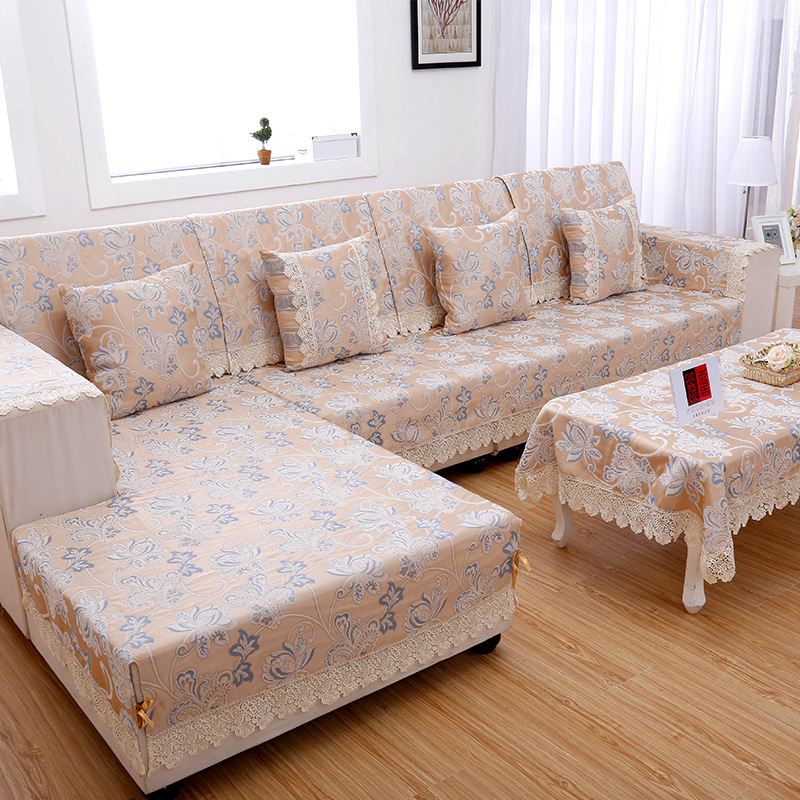 Sofa slipcover jacquard corner sofa cover set armrest for Ikea sofa rosa