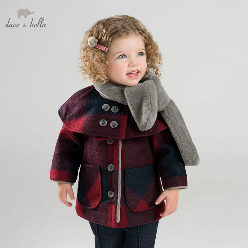 DBM9001 dave bella baby wool jacket chidlren coat with shawl and scarf infant toddler boutique outerwear luxury brand designer vintage diamond evening bag fashion women owl day clutch party dress handbags purse chain shoulder bags