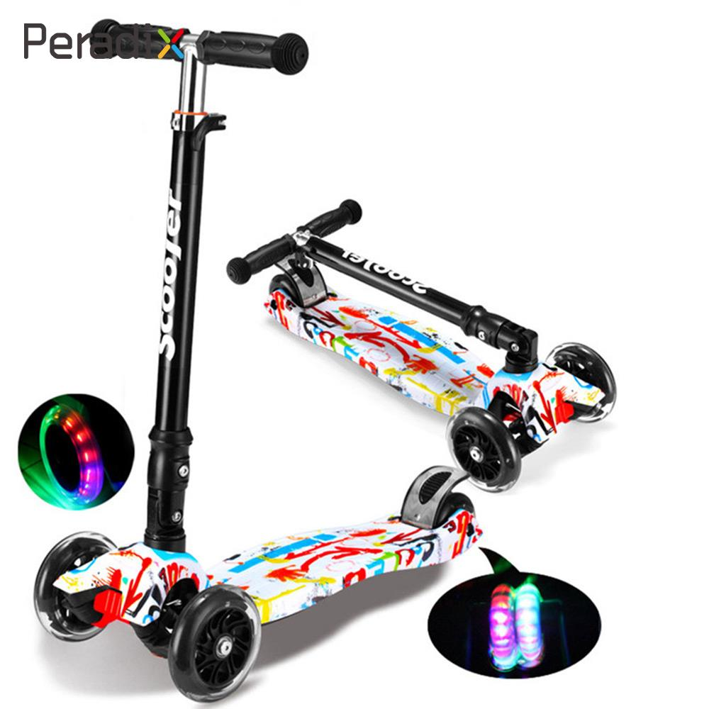 цена Foldable Scooter Girls Portable Scooter Doodle Alloy Children'S Scooters Premium Campus 3 Wheels