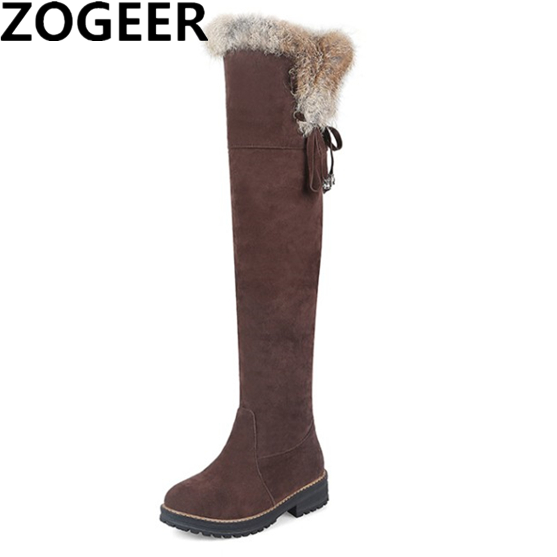 цена Hot Women Warm Snow Boots 2018 Autumn Winter Ladies Suede Fashion Low heels Warm Fur Plush Women Shoes Knee High Boots Brand