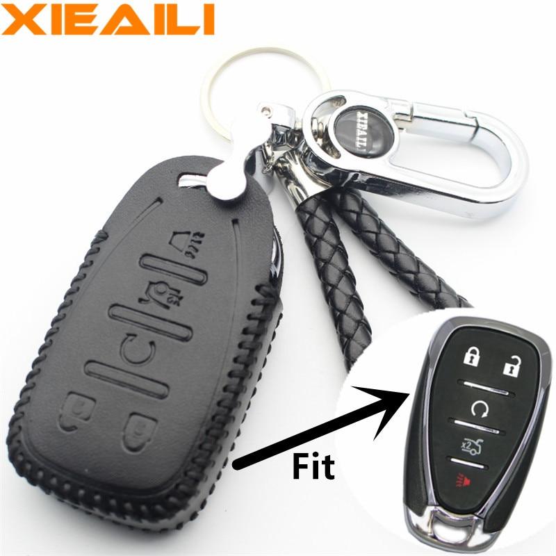 Interior Accessories Xieaili Genuine Leather Remote Key Chain 5button Smart Key Case Cover For Chevrolet Malibu Xl/equinox/camaro/cruze S328 Key Case For Car