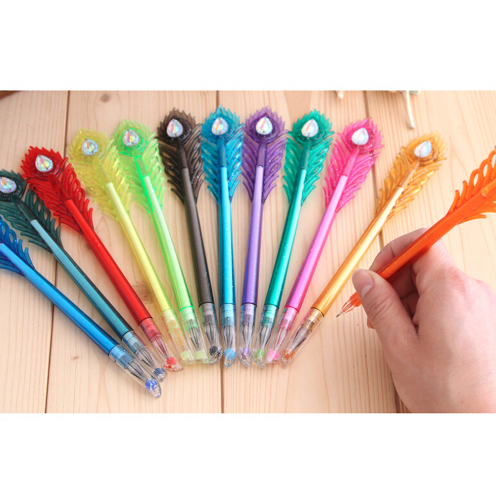Attirant 12 Colors Ink/pack Candy Color Peacock Diamond Gel Pen Creative Gift  Stationery Colored Gel Pens School Office Supplies 0.5mm