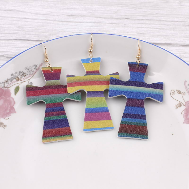 ZWPON 2019 Colorful Stripe Print Leather Cross Earrings for Women in Drop Earrings from Jewelry Accessories