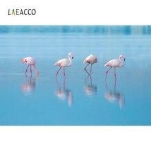 Laeacco Flamingos River White Cloud Palm Backdrop Photography Backgrounds Customized Photographic Backdrops For Photo Studio flamingos