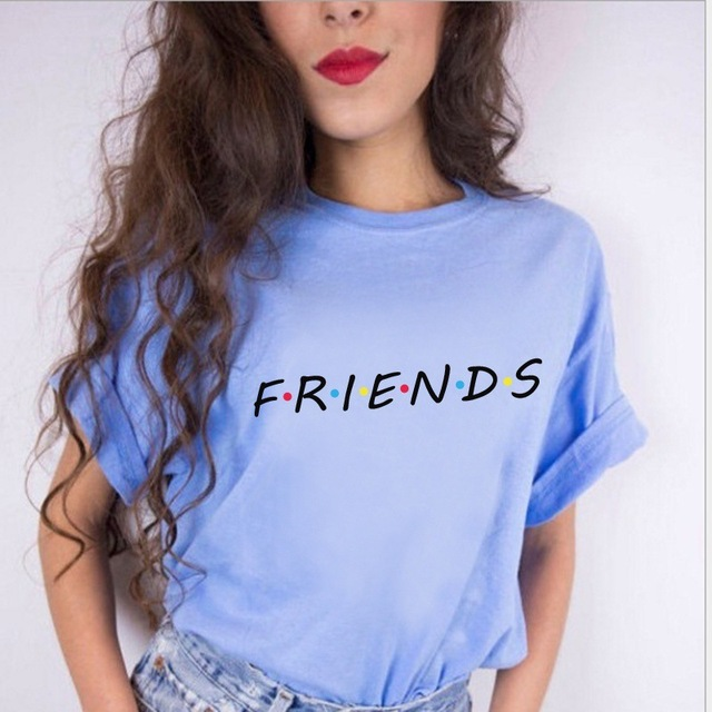100% Cotton friends tv t shirt Women White Punk Harajuku Tshirt Female 2018 Summer Top Letter Print T-shirt
