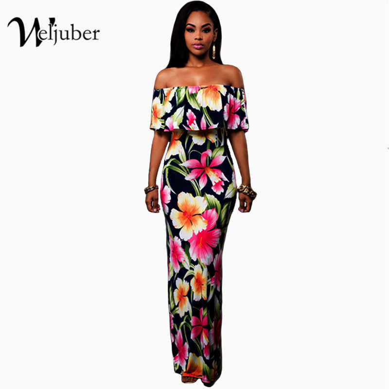 9f98cdac693 Women Boho Maxi Dress 2017 New Spring Summer Style Off Shoulder Ruffled  Print Long Dresses Feminine