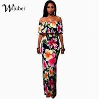 Women Boho Maxi Dress 2017 New Spring Summer Style Off Shoulder Ruffled Print Long Dresses Feminine