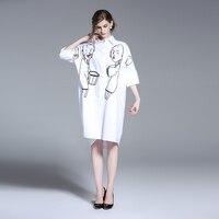 YMOJNV 2018 Spring New Fashion Korean Style Casual Loose Half Sleeve Cotton Shirt Female Long Large