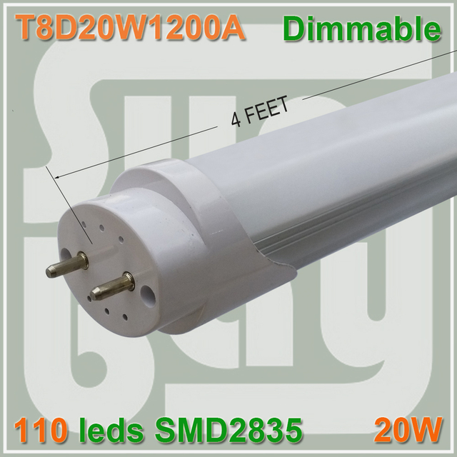 10pcs/lot  Dimmable 4ft T8 lamp  4feet 20W 1200mm 1.2M 120cm LED tube SMD2835 energy saving for existing fluorescent fixture