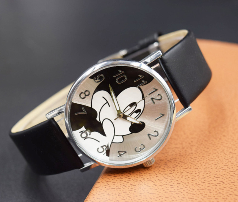 2018 Cute cartoon quartz wristwatch children leather Ladies watch Mickey women watches kid boy girls relojes(China)