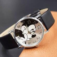 Милые Мультяшные кварцевые наручные часы, детские кожаные женские часы с Микки Маусом, женские часы, детские часы для мальчиков и девочек