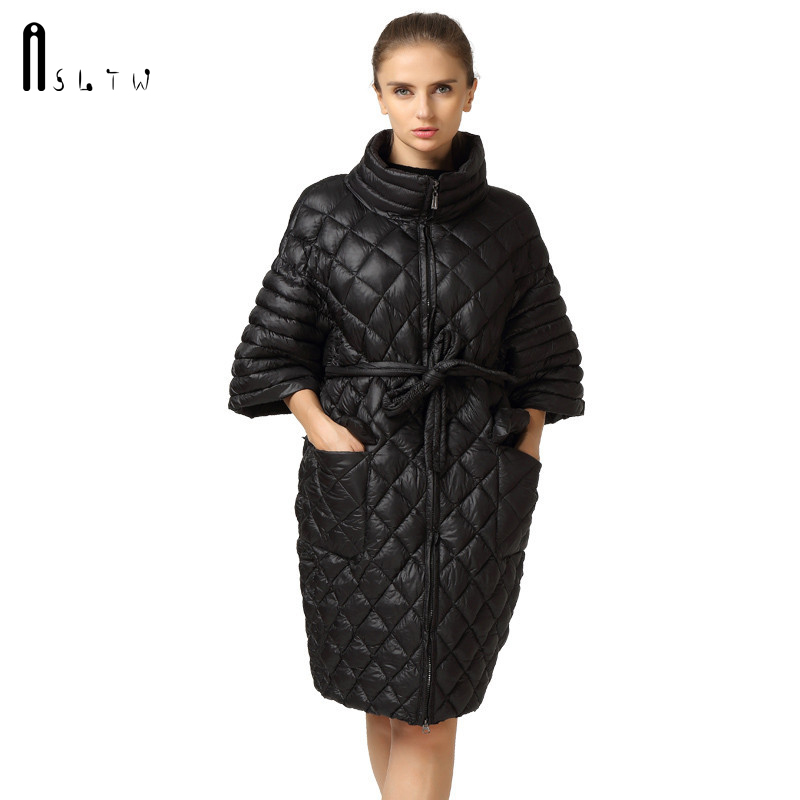 New Arrivals Women Autumn Winter   Parkas   Slyn Waist Long Coat Fashion Plus Size Leisure Coat Bat Sleeve Pearl Cotton Ladies Coats