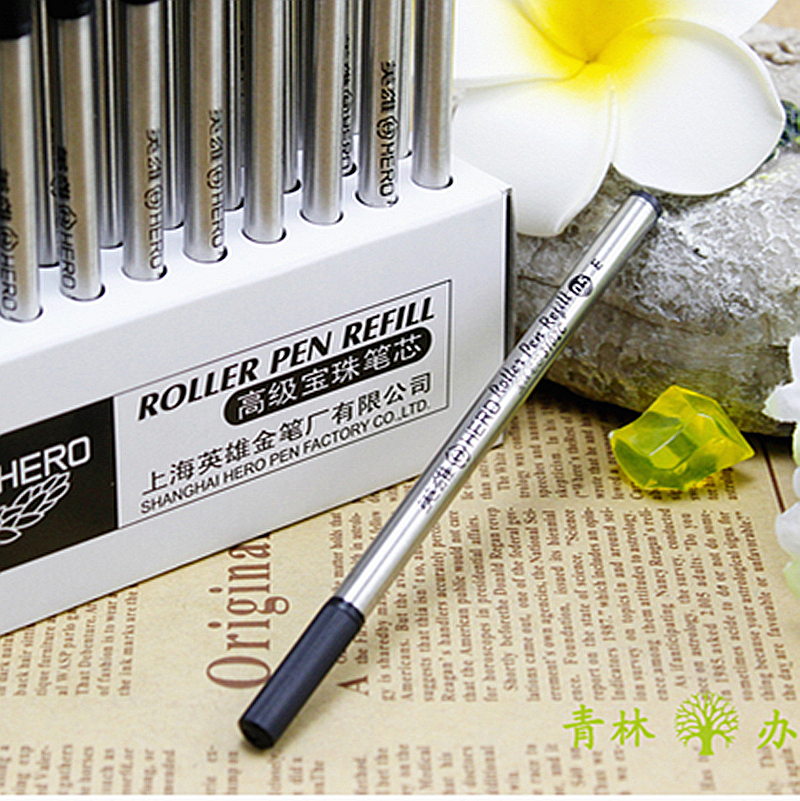 5 Pcs/lot Good Quality 0.5MM Black Ink Refill For Roller Ball Pens Smooth Rollerball Writing Pen Refills Hero Free Shipping