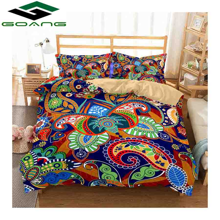 GOANG 3d Bedding Set Duvet Cover Bed Sheet Pillow Reactive Printing 100% Polyester Abstract Flower Luxury Home Textile