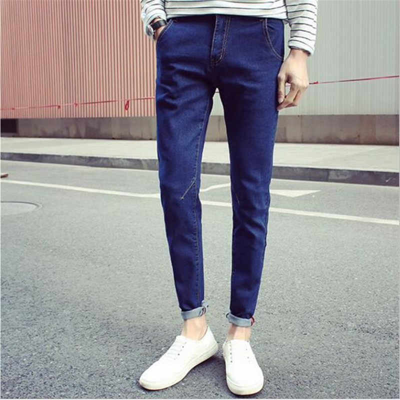 2018 Spring and Autumn Trends Teenager Slim Stretch Pants Mens Feet Casual Straight Waist Micro-Bomb Solid Color Jeans