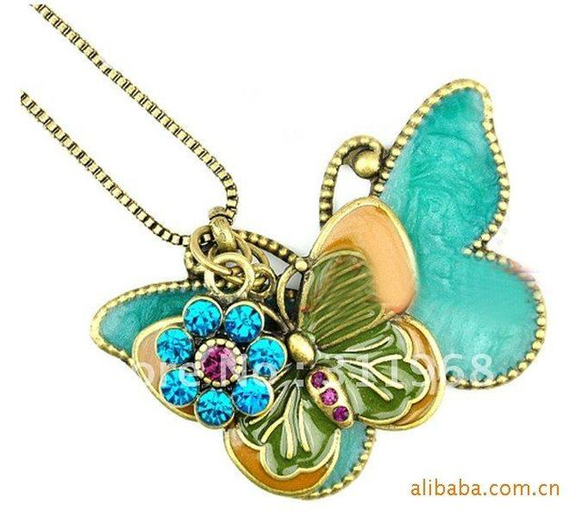 Vintage Necklaces Butterfly Flower Crystal Hinged Pendant Long necklace  Hot Style Big Discount Promotion! Free shipping#AC127