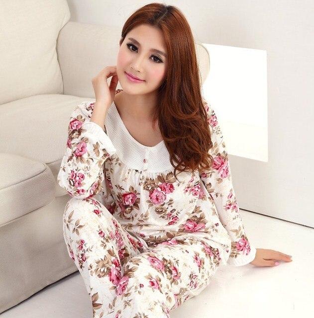 wholesale dealer 43c87 e4745 US $13.41 40% OFF|Frauen Langarm Polyester Baumwolle Schlaf Pyjama Sets  Weiblichen Nachtwäsche Dame Flora Pyjamas Nachthemden Teenager Pijamas ...