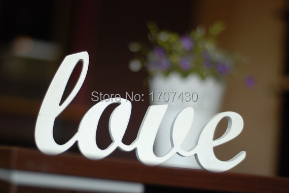 Love sign wooden wall decor wedding or home decoration interior signs painted white wood letters ...