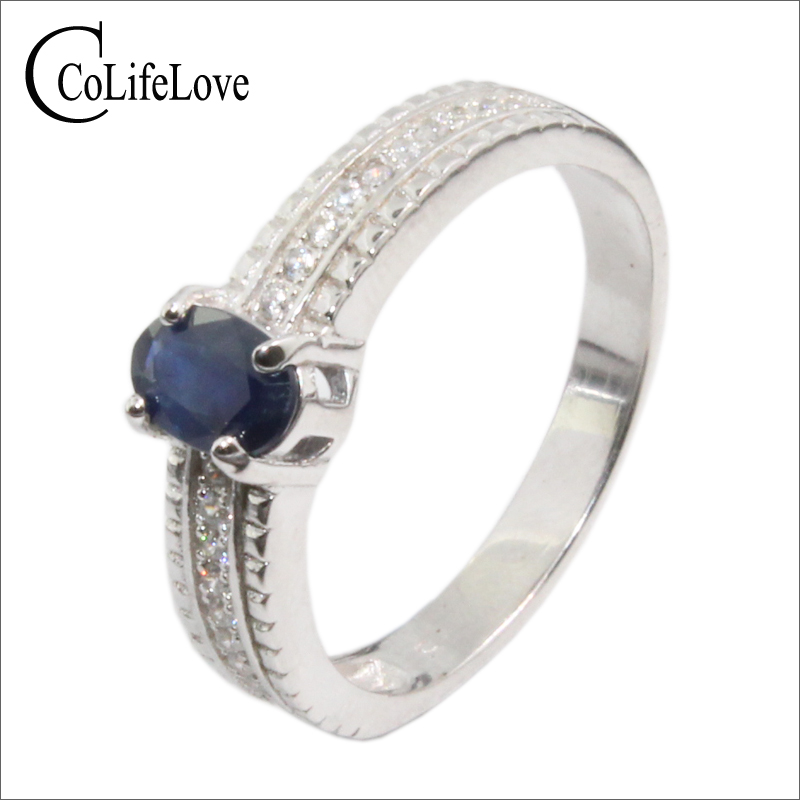 Classic Silver Sapphire Wedding Ring For Woman 0.5 Ct 4*6mm Natural Sapphire Gemstone Ring Solid 925 Silver Sapphire Ring