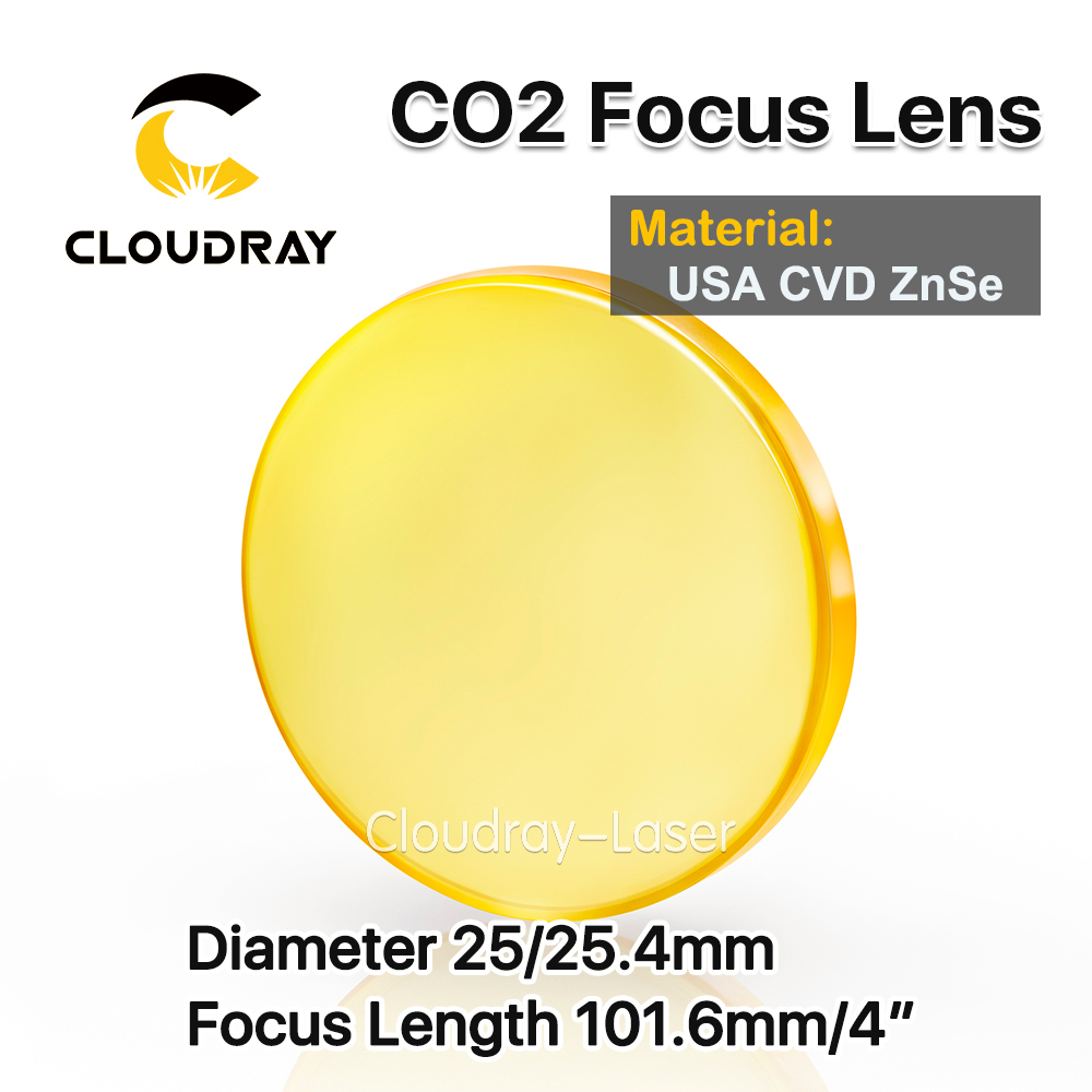 Cloudray USA CVD ZnSe Focus Lens Dia. 25/25.4mm FL 101.6mm 4 for CO2 Laser Engraving Cutting Machine Free Shipping usa cvd znse focus lens dia 28mm fl 50 8mm 2 for co2 laser engraving cutting machine free shipping