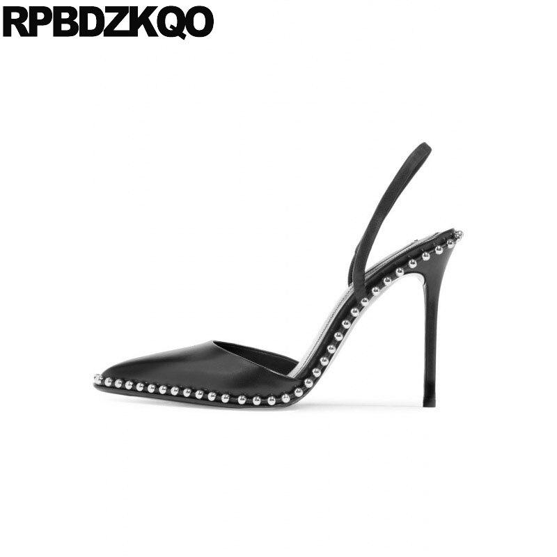 956eec13cf75 Metal High Heels Brand Women Shoes 2018 Strap Italian Mules Slipper Pointed  Toe Slingback Stud 3