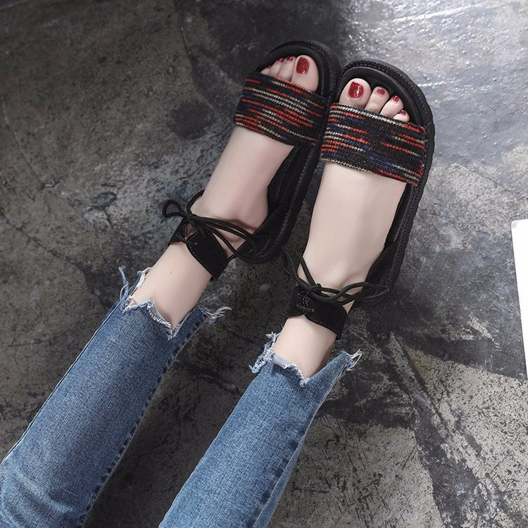 Casual Lace-up Rome Gladiator Women Sandals Solid Ankle Strap Shallow Women Shoes Summer Fashion Flat Sandals 16