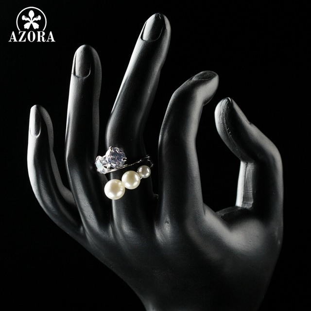 AZORA 3PCS Imitation Pearls and Clear Cubic Zirconia Stones Mix Symmetrical Girls Finger Rings TR0175|finger ring|imitation pearlring ring -