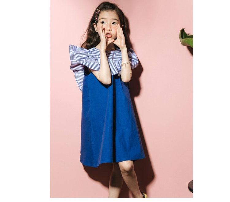 2018 fashion patchwork ruffles dress baby girls dresses for kids summer petal sleeve cotton princess dresses children clothing   (6)