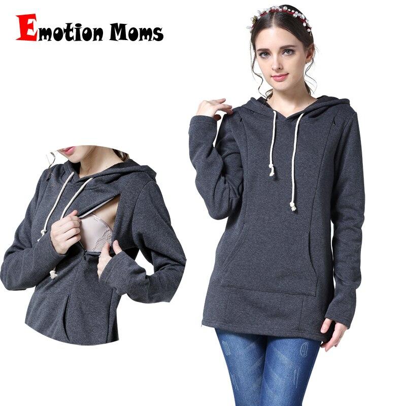 d2a807bf8 Emoción Mamás Ropa de Invierno de Maternidad tops Lactancia Calentamiento  Engrosada suéter de Manga Larga Con