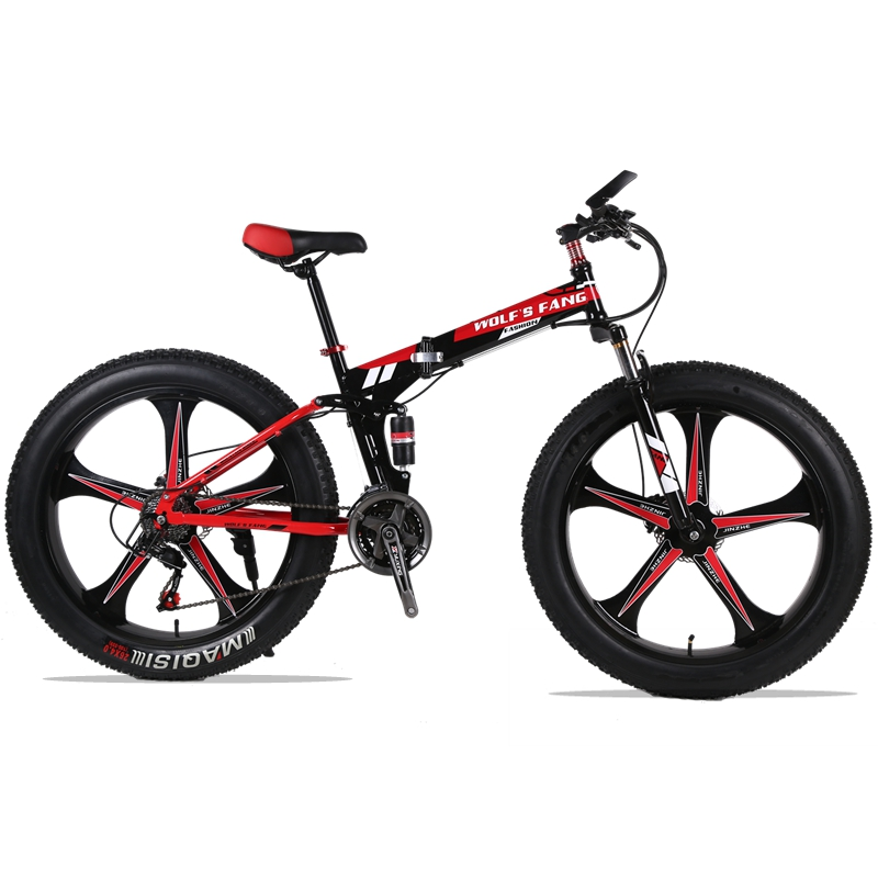 mountain bike 26x4.0 Folding Bicycle 24 speed road bike fat bike variable speed bike Front and Rear Mechanical Disc Brake