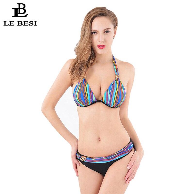 ФОТО LE BESI 2016 Two Pieces Swimsuit String Bikini Underwire Swimwear Women Halter Top Tankini Lace-up Bathing Suit Plus Size 4XL