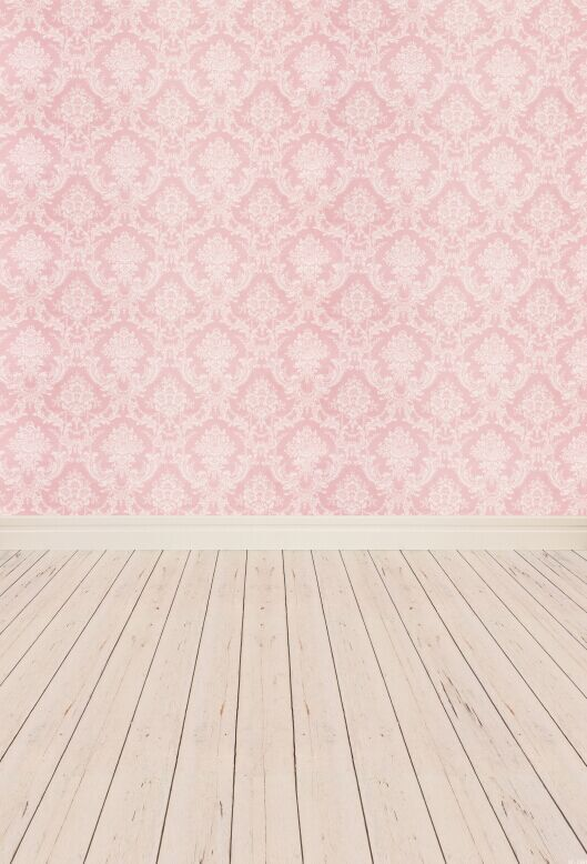 5X10ft(1.5x3m) Art fabric photography backdrop Computer printing pink damask background with floor for studio baby XT-2341