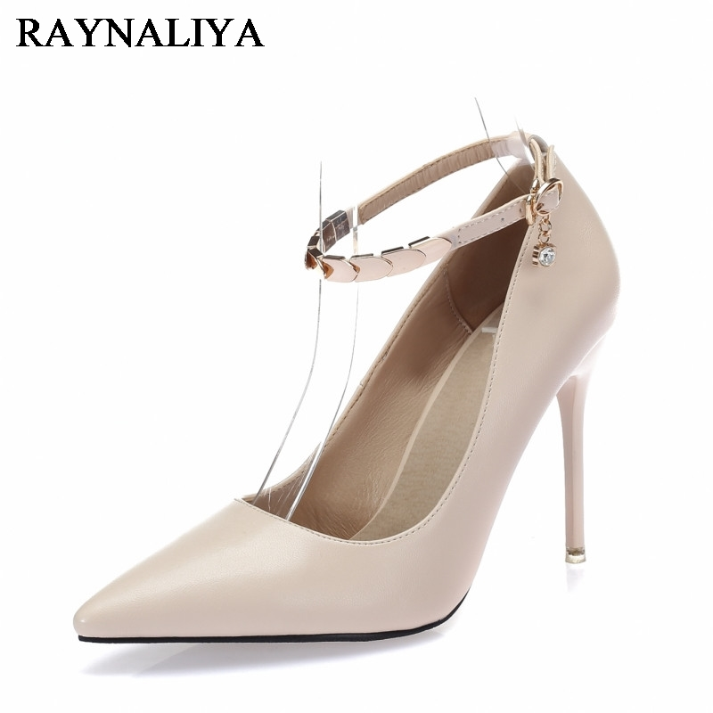 New Spring Summer Women Pumps Elegant Buckle Rhinestone Genuine Leather High Heels Sexy Thin Pointed Single Shoes BLY-B0068 spring summer sexy nightclub shallow mouth thin high heels pu leather buckle square toe pumps shoes fashion elegant silver pumps
